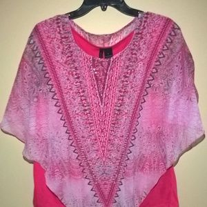 Pink and Gray Overlay Top - Size L - NWOT